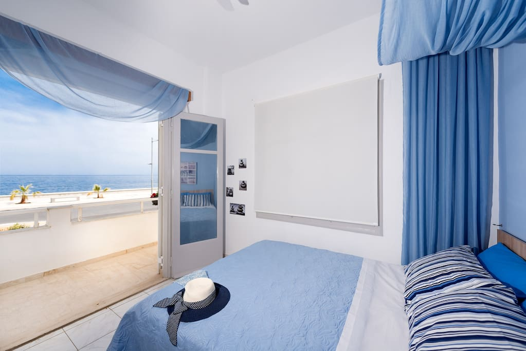 sea view from blue bedroom