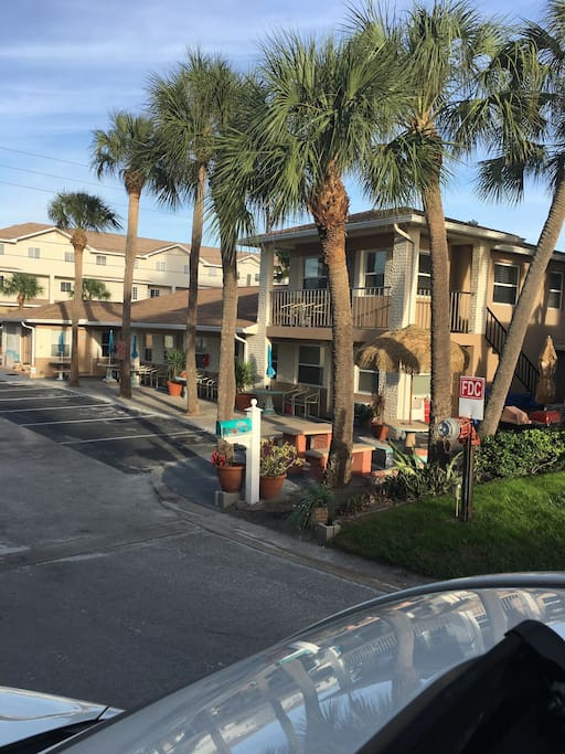 SUNGLOW Condo-motel Apartments. Common patio & barbecue area,under the Palm Trees, overlooking Gulf of Mexico.