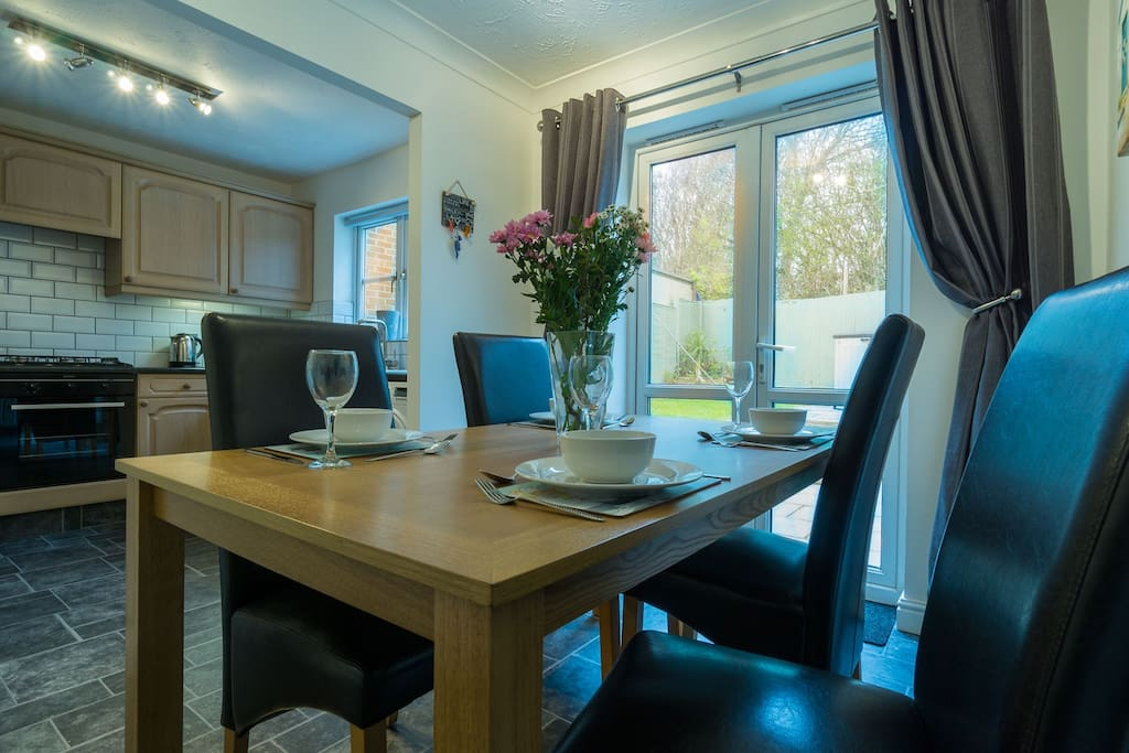 Dining area with patio doors into the garden