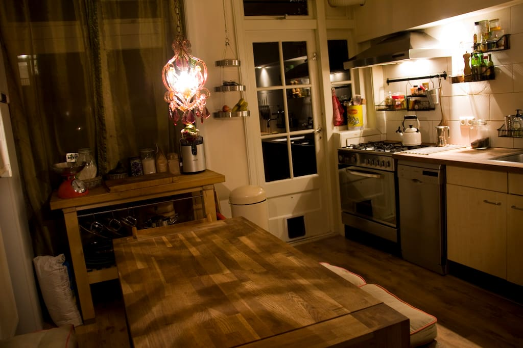 Cozy kitchen with dishwasher and gas stove.