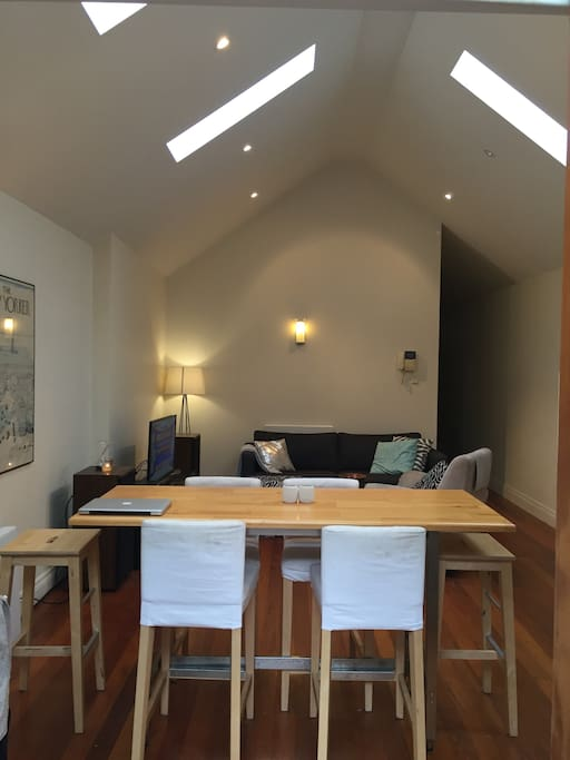 Dining table in open plan area.