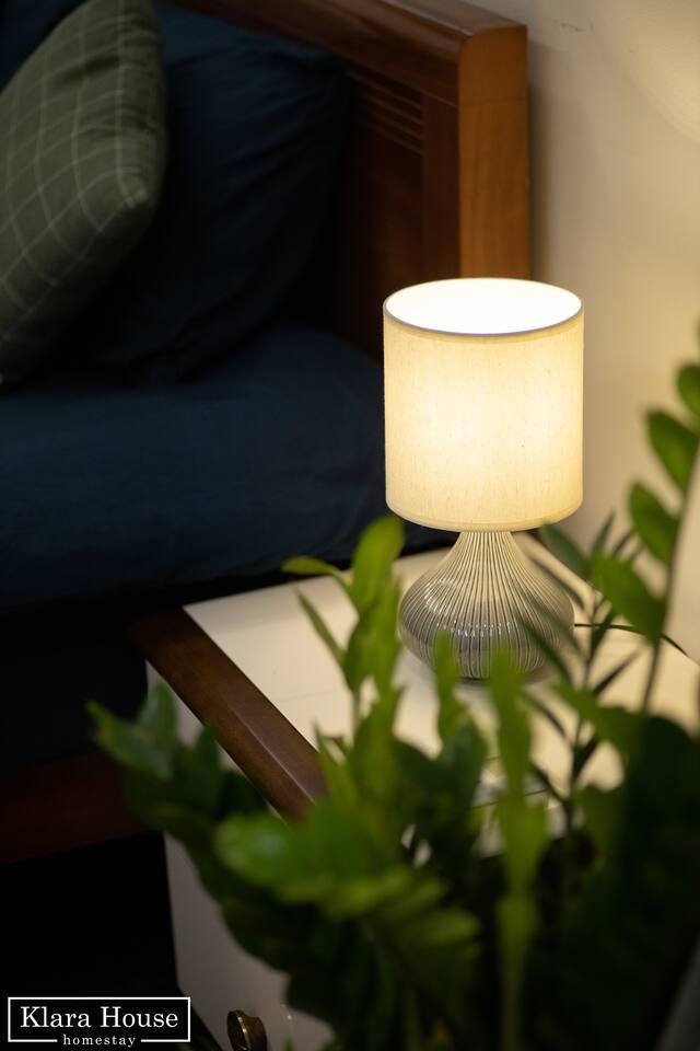 Cozy lamp near bed