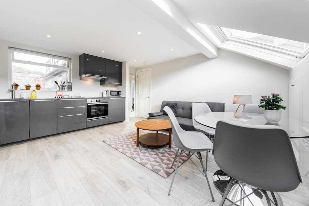 The spacious open-plan kitchen and living and dining areas.