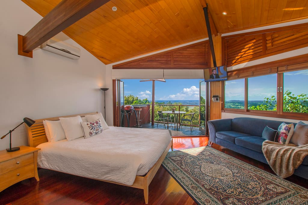 King bed with stunning views