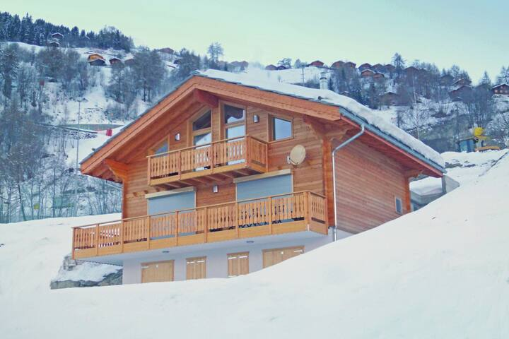 Comfortable and charming chalet with internet access and open fire log.