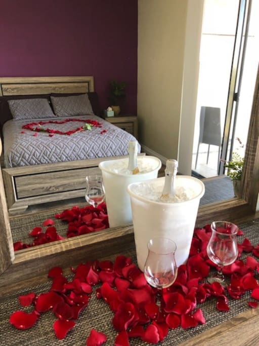 """This is an example of our romance package and is not included in our room rate. Please message us or see """"The Space"""" area for more information and pricing."""