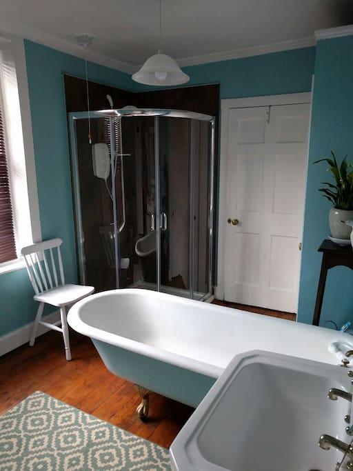 The bathroom is a mix of modern and traditional