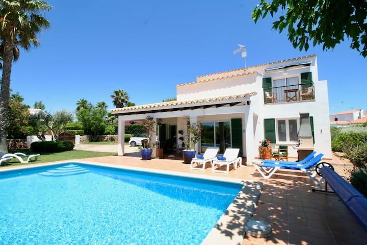 Villa El Olivo Menorca with Sea View, Wi-Fi, Pool, Garden & Terraces; Parking Available