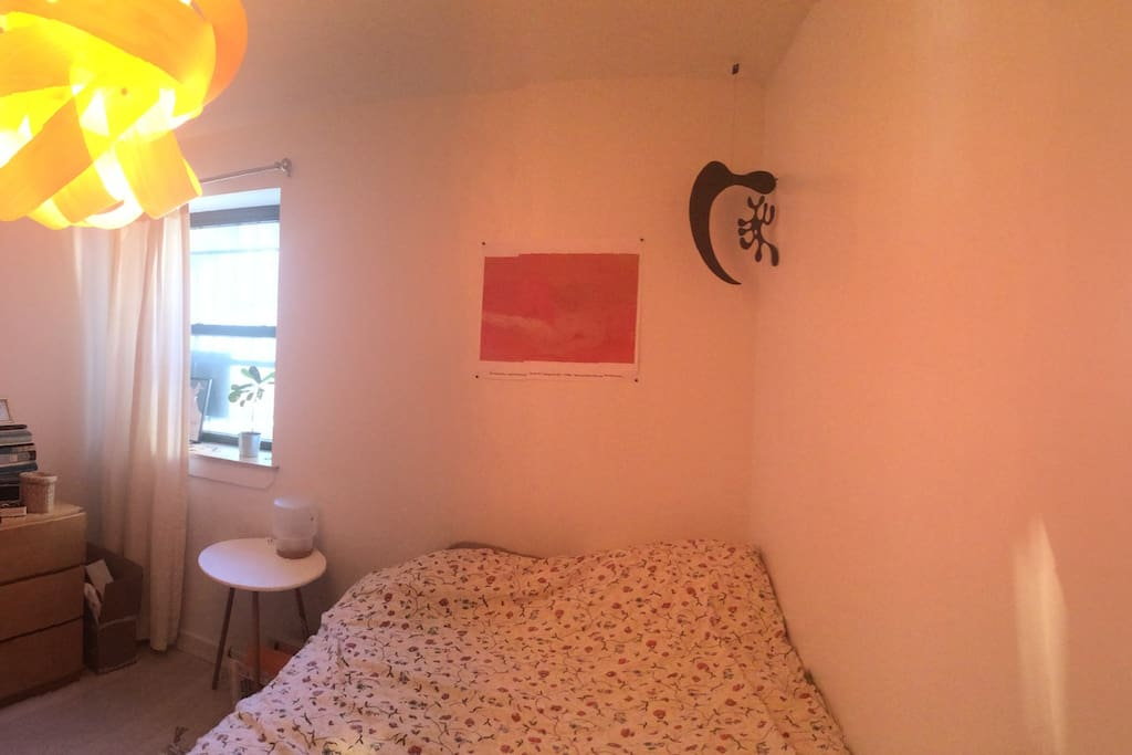 A panoramic view of the bedroom