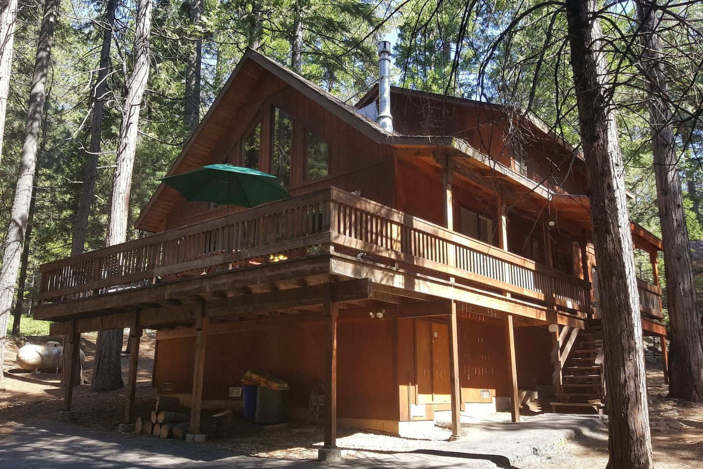 Large wrap around deck with nice views of the surrounding forest