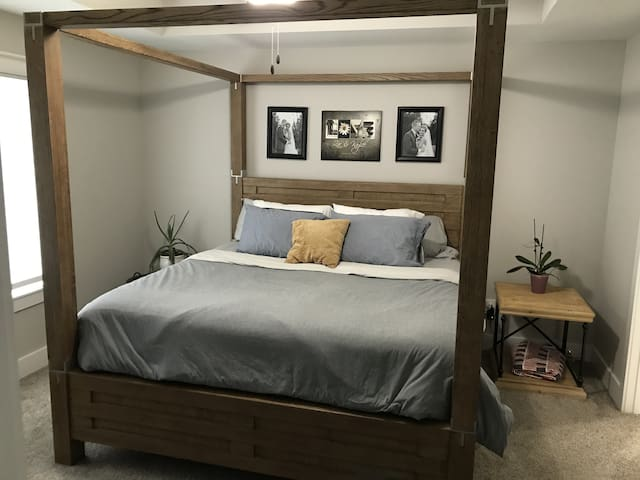"""Master Bedroom with King Bed and 40"""" TV"""