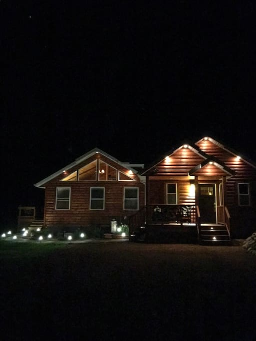 We brought a lot of lighting into our decorating theme to provide a warm and cozy atmosphere.   Plus, most lights are all on dimmers, which provides the opportunity to be outside at nighttime with plenty of light, or with low light-whichever you prefer.