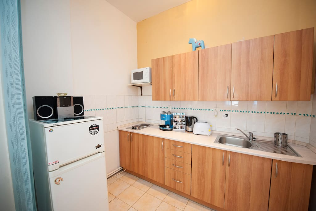In the kitchen is microwave, fridge&freezer, coffee machine Delonghi, touster, kettle, two rings hob and fully equiped kitchen. if you want cook, supermarket is just behind the corner