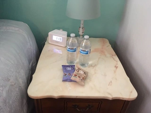 All guests receive a complementary bottle of water and a welcome snack upon check-in