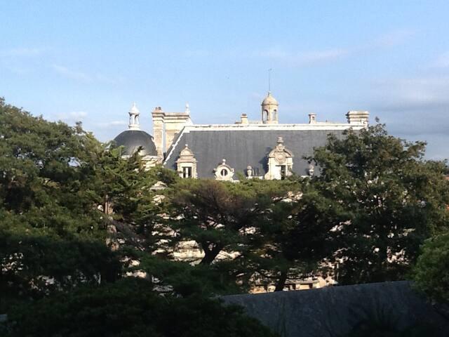 Vue de la terrasse sur le château
