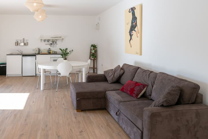 The living space is comfortable and stylish