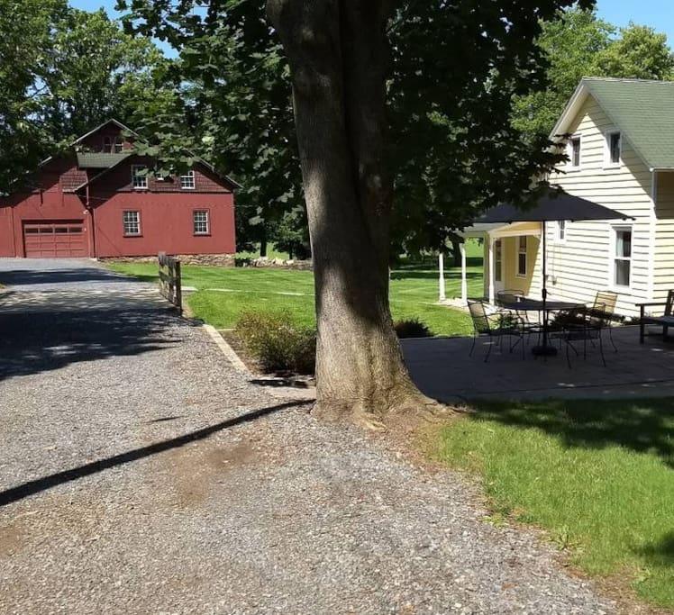 Barn and driveway