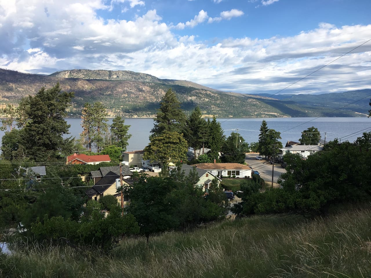 Privacy And open spaces. Great location overlooking Okanagan Lake and the village of Okanagan Centre. 5 minute walk to beach, restaurant, lake trail. 5 minute drive to Winfield's grocery stores, banks, restaurants, fast food outlets and  more...
