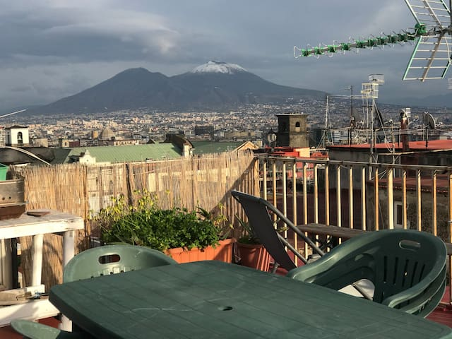 The Mount Vesuvius with snow from our rooftop.