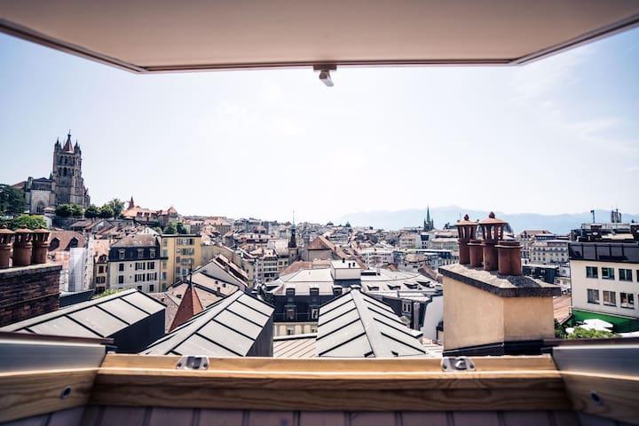 Fabulous Attic Suite Near Lausanne Gare