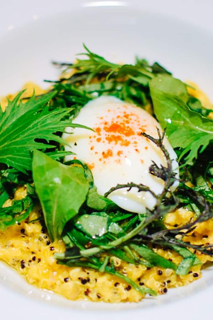 Quinoa risotto, sous vide egg.