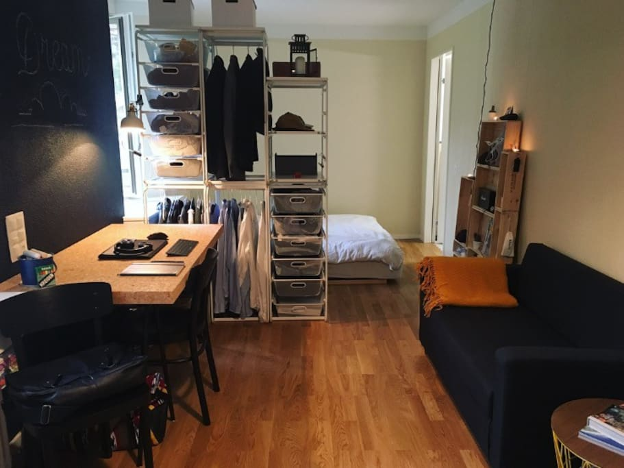 The Room. Drawers and shelves for your things.