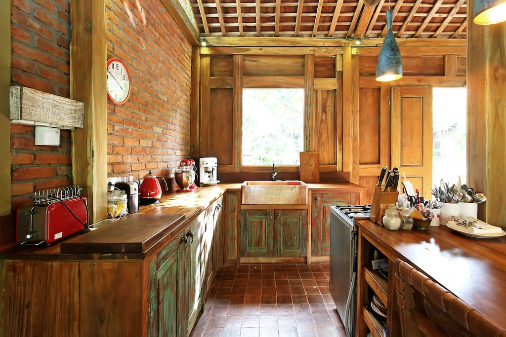 The kitchen is solid teak, made from parts of an old Javanese house. Cooker is state of the art Italian.  Z to