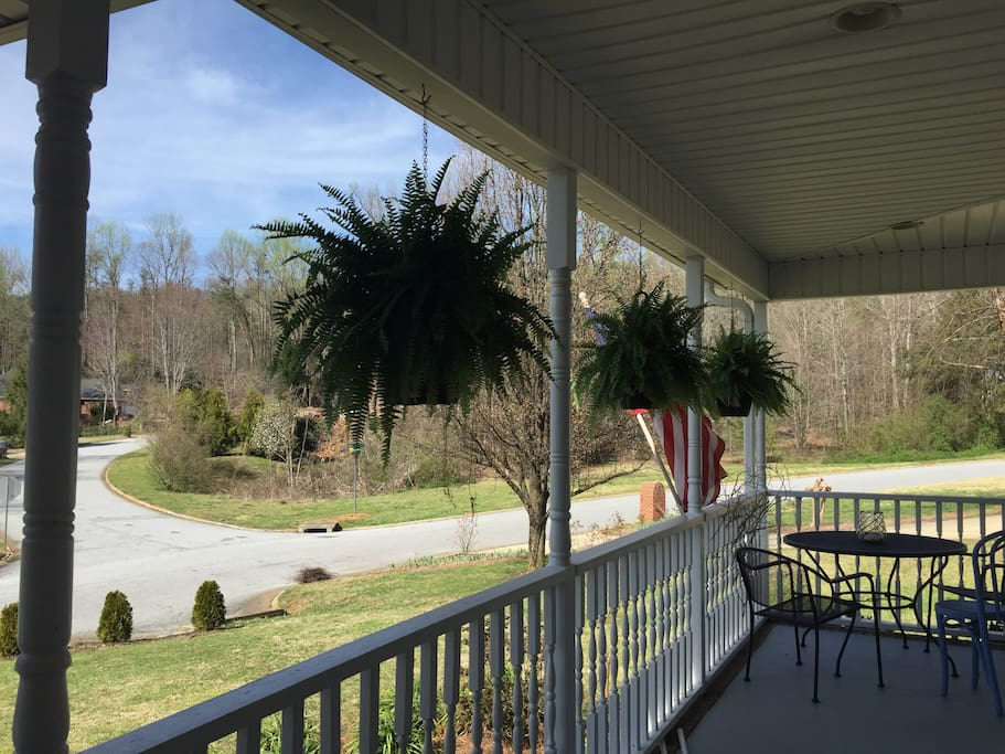 front porch with Paris Mtn views