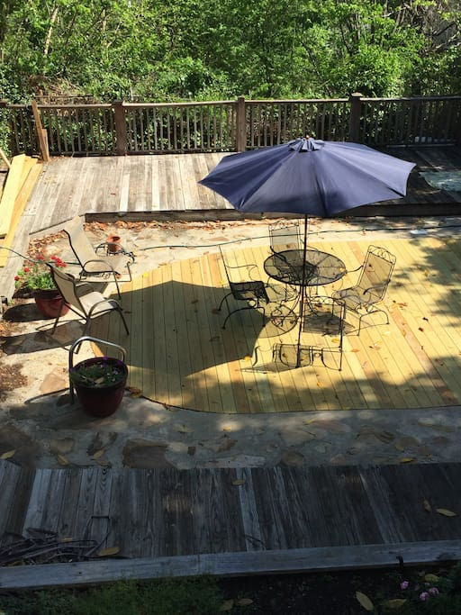 View of deck from apartment.