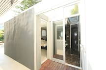 master bedroom outside shower deck  and bathroom roller shutter.