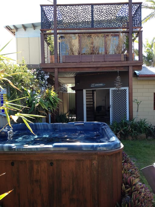Private Yard with Heated Spa