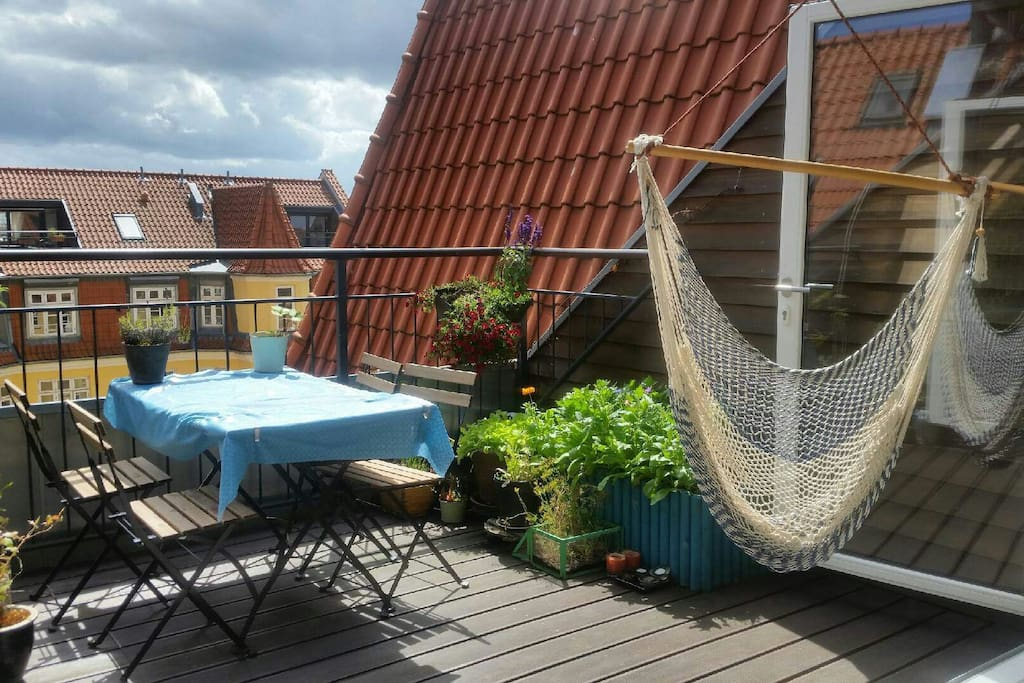 At the terrace you can pick your own herbs for cooking, maybee you can pick some strawberrys or tomatoes if season for that. You have acces to gas barbeque and can enjoy the sun in lounger and hammock chair.