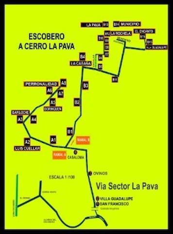 Mapa que indica como llegar desde el Escobero a la Finca El Encanto B16
