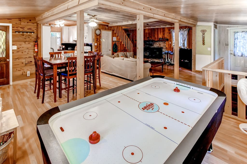 Challenge your companions to games of air hockey while staying here!