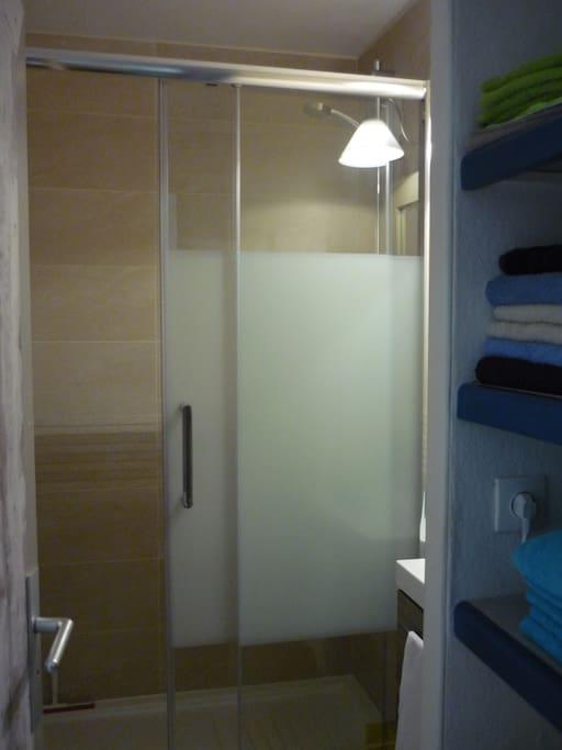 Salle de bain avec cabine de douche et W.C