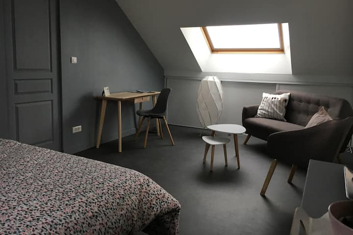 Chambre cosy avec petit déjeuner, SDD privée et TV
