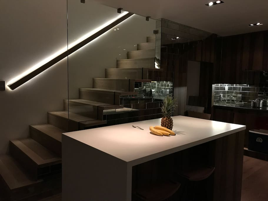 Newly renovated, this house is a sensation!  This is the kitchen by night.