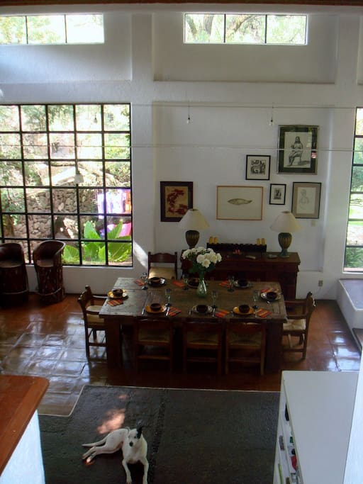 Looking down from upstairs to the dining area