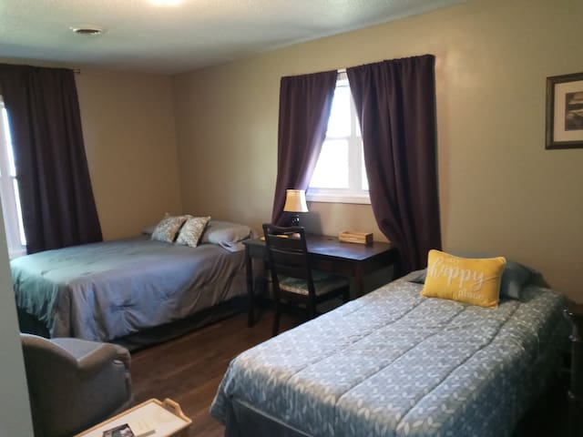 The Sunshine Room with view of Loess Hills. A Full bed and A Twin bed