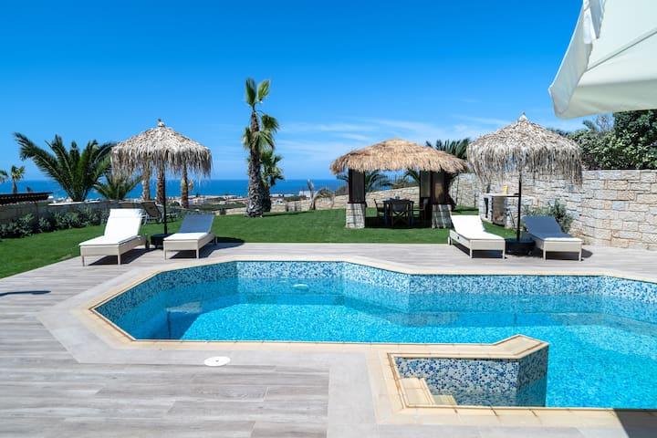 Joy seaview villa with heated pool at Hersonissos