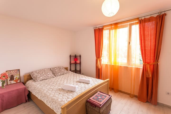 There are 2 separate bedrooms inside the apartments. Clean linens and towels are provided for the guests.