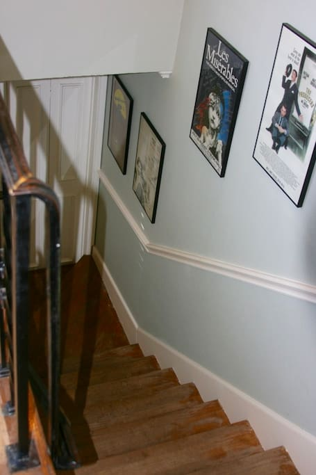 The front stairs leading up.
