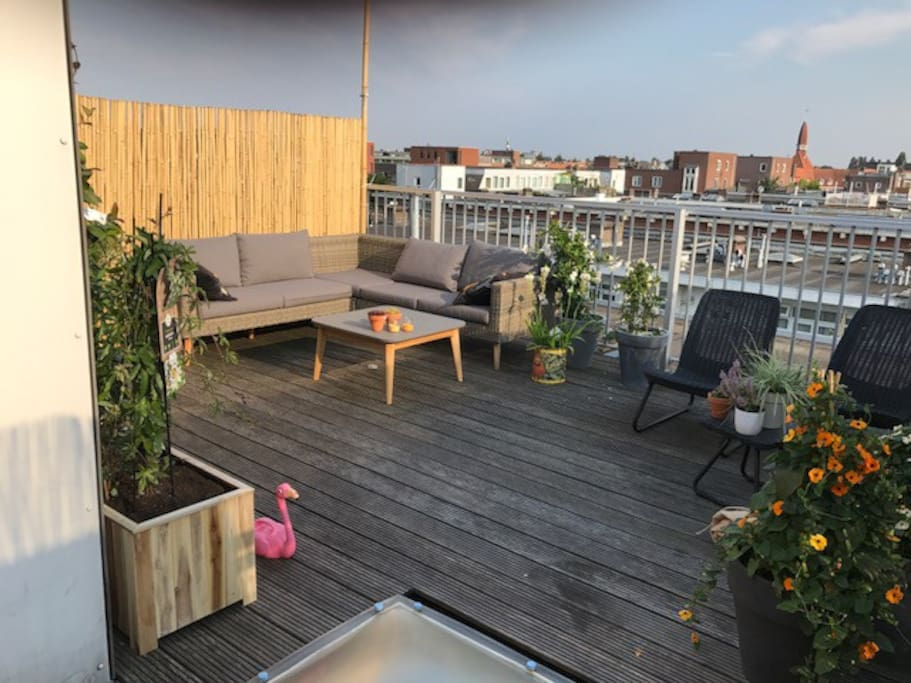 Great roof terrace facing South so loads of sun!