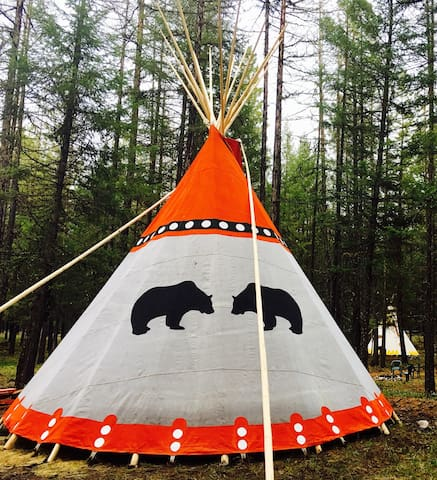 SPOTTED BEAR , TIPI VILLAGE , the nec plus ultra