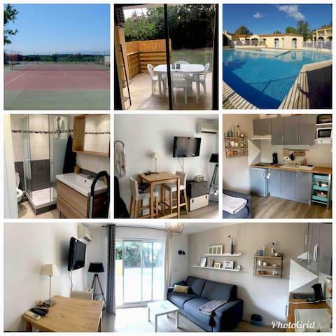 Studio Cosy avec Piscine et Tennis + parking