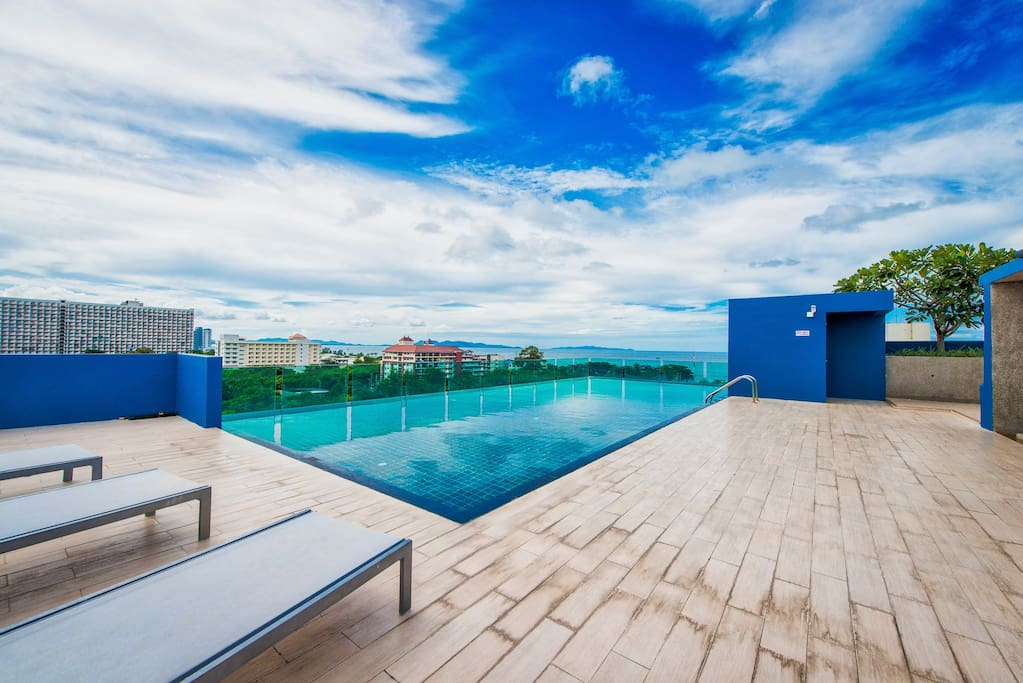 Rooftop swimming pool with amazing landscape view and Sea
