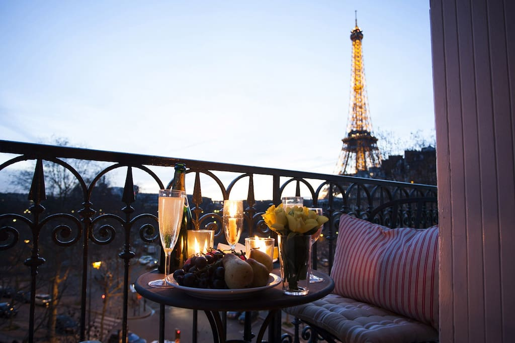 Enjoy champagne and a stunning Eiffel Tower view at sunset
