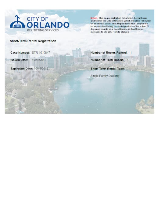 City of Orlando  Short Term Rental Registration  Expiration Date:  10/15/2019
