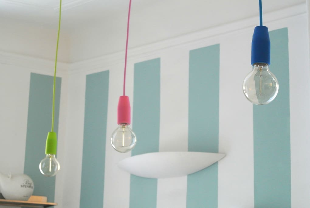 Colored lamps in the kitchen