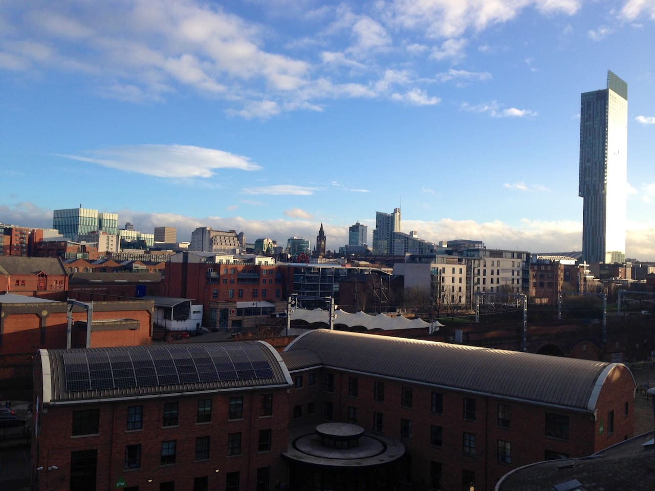 Stunning Manchester skyline view from balcony